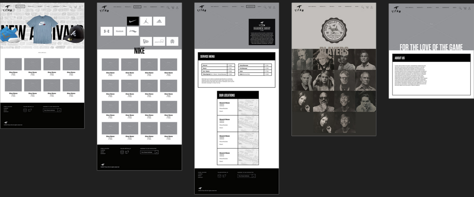 Wireframes for Titan22